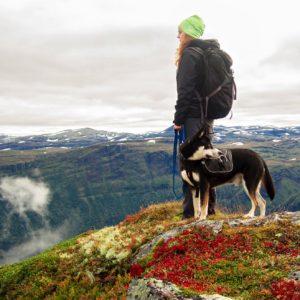 Obrazek przedstawia Kobietę zpsem. Kobieta wraz zezwierzęciem stoi nawzgórzu zktóregoma widok naszczyty gór.